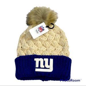 🆕 NFL New York Giants Toboggan Beanie With Pom OSFM Adult
